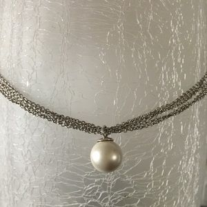 Silver pearl multi strand necklace & earrings